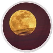 Full Moon Above Clouds Round Beach Towel