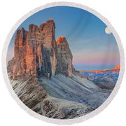 Full Moon Morning On Tre Cime Di Lavaredo Round Beach Towel