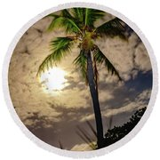 Full Moon Palm Round Beach Towel