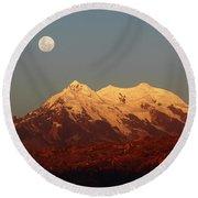 Full Moon Rise Over Mt Illimani Round Beach Towel