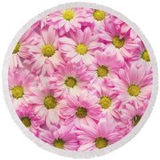 Full Of Pink Flowers Round Beach Towel