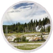 Round Beach Towel featuring the photograph Fuming Geysers In Yellowstone National Park by Tatiana Travelways