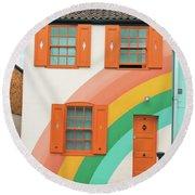 Funky Rainbow House Round Beach Towel