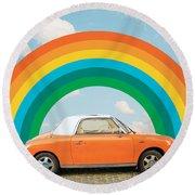 Funky Rainbow Ride Round Beach Towel