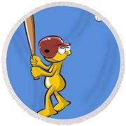 Funny Baseball Batter Round Beach Towel
