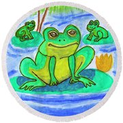 Funny Frogs Round Beach Towel