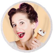 Funny Pinup Girl With Ice Cream In Isolated Studio Round Beach Towel