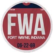 Fwa Fort Wayne Luggage Tag II Round Beach Towel