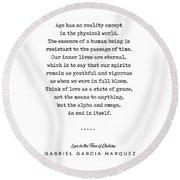 Gabriel Garcia Marquez Quote 01 - Typewriter - Minimal, Modern, Classy, Sophisticated Art Prints Round Beach Towel