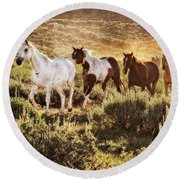 Galloping Down The Mountain Round Beach Towel