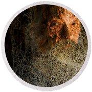 Round Beach Towel featuring the digital art Gandalf - Cobwebby Self-portrait by Attila Meszlenyi