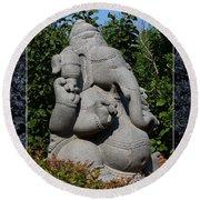Round Beach Towel featuring the photograph Ganesha In The Garden by Debi Dalio