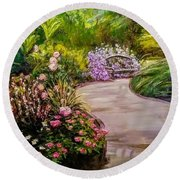 Path To The Garden Bench At Evergreen Arboretum Round Beach Towel