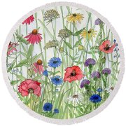 Garden Flower Medley Watercolor Round Beach Towel