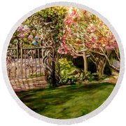 Garden Gate At Evergreen Arboretum Round Beach Towel