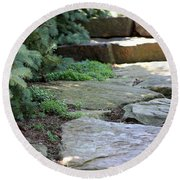 Round Beach Towel featuring the photograph Garden Landscape - Stone Stairs by Colleen Cornelius