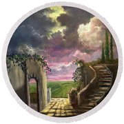 Garden Of The Ancients Round Beach Towel