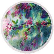 Garlands Full Of Flowers Round Beach Towel
