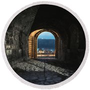Gate At Kalemegdan Fortress, Belgrade Round Beach Towel