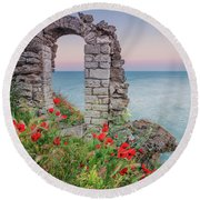 Gate In The Poppies Round Beach Towel