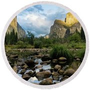 Gates Of The Valley 3 Round Beach Towel