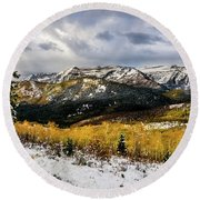 Round Beach Towel featuring the photograph Gathering Storm by TL Mair
