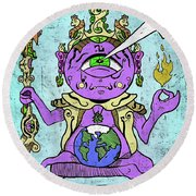 Round Beach Towel featuring the digital art Gautama Buddha Colour Illustration by Sotuland Art
