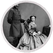 General Custer And His Wife Libbie Round Beach Towel