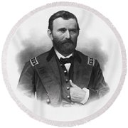 General Grant Engraved Portrait Round Beach Towel