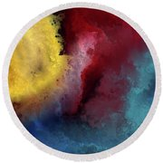 Round Beach Towel featuring the painting Genesis 1 3. Let There Be Light by Mark Lawrence