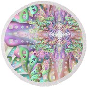 Round Beach Towel featuring the digital art Genome Remix Two by Vitaly Mishurovsky