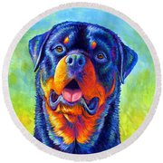 Gentle Guardian Colorful Rottweiler Dog Round Beach Towel