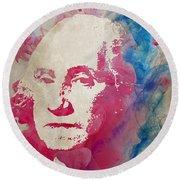 George Washington Watercolor Size 48x48 Huge Painting Round Beach Towel