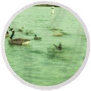 Ghost Ducks Round Beach Towel
