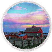 Round Beach Towel featuring the photograph Ghost Horses Pastel Sky Timed Stack by James BO Insogna