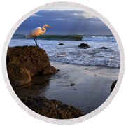 Giant Egret Round Beach Towel