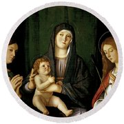 Giovanni Bellini -and Workshop- 'the Virgin And Child Between Two Saints', Ca. 1490, Italian School. Round Beach Towel
