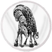 Giraffe Round Beach Towel