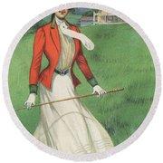 Girl Playing Golf, 19th Century Round Beach Towel
