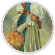 Girl With A Basket Of Oranges, Circa 1889  Round Beach Towel