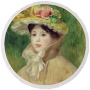 Girl With Yellow Cape, 1901 Round Beach Towel