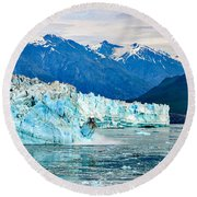 Glacier Calving Alaska  Round Beach Towel