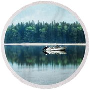 Glacier National Park Lake Reflections Round Beach Towel