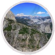 Round Beach Towel featuring the photograph Glacier Point Overlook by Dawn Richards