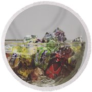 Glass Bowl Of Candies Round Beach Towel