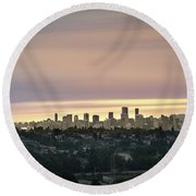 Gloden Sky On Vancouver Round Beach Towel