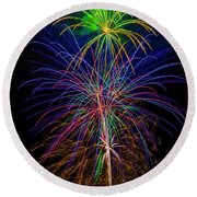 Glorious Fireworks Round Beach Towel