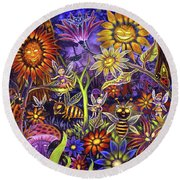 Glowing Fairy Forest Round Beach Towel