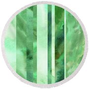 Glowing Green Lines Abstract Watercolor Decor  Round Beach Towel