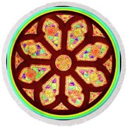 Glowing Rosette Round Beach Towel